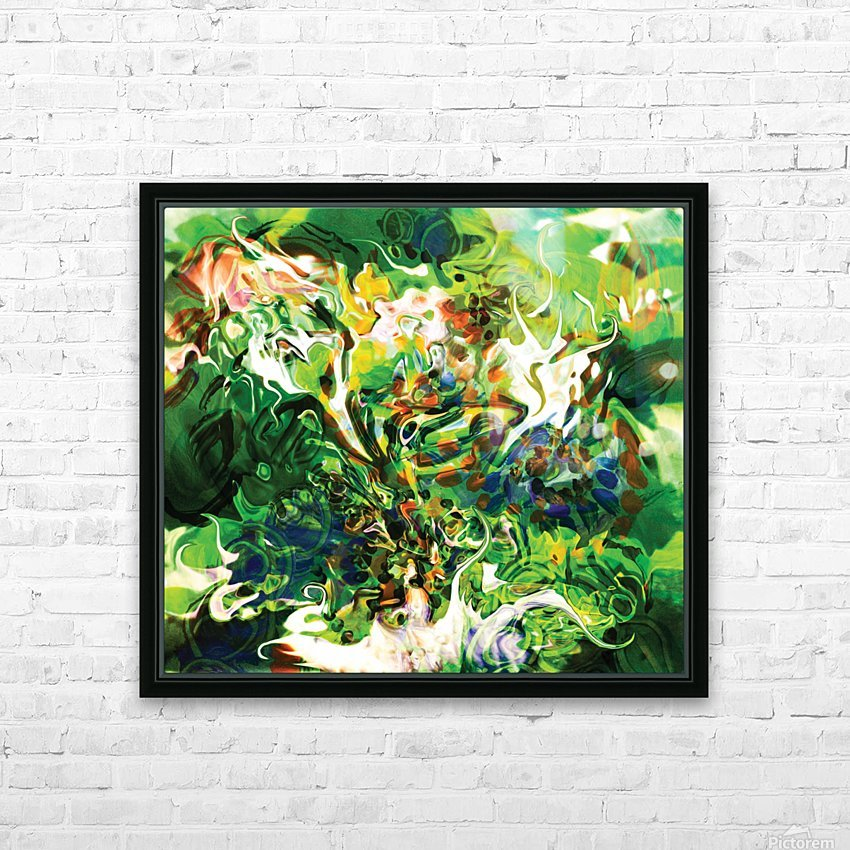 green fluid abstract HD Sublimation Metal print with Decorating Float Frame (BOX)