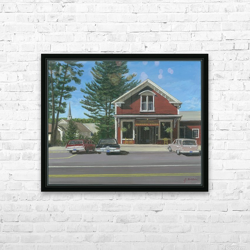 Church House and Store - Newtown Scenes 16X20 HD Sublimation Metal print with Decorating Float Frame (BOX)