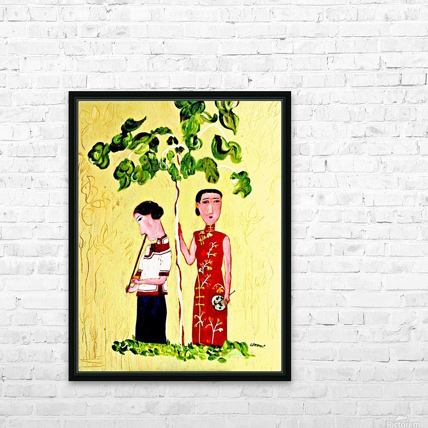AS - Two Chinese Ladies HD Sublimation Metal print with Decorating Float Frame (BOX)