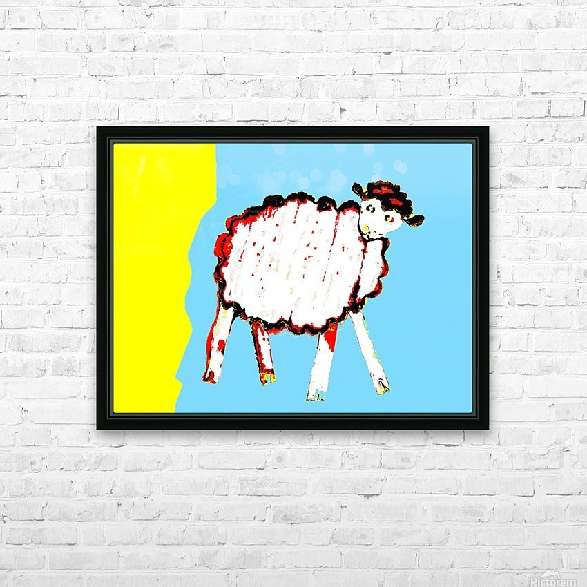 Little Aussie Sheep - Blue HD Sublimation Metal print with Decorating Float Frame (BOX)