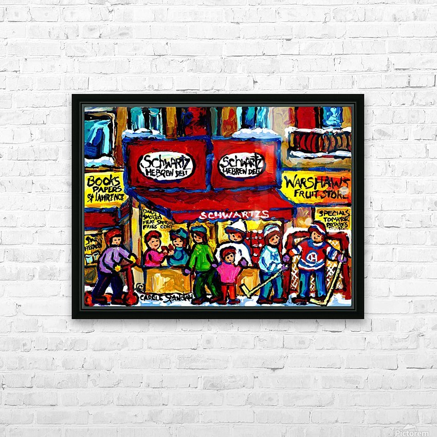 SCHWARTZ S DELI MONTREAL MONTREAL WINTER SCENE PAINTING  HD Sublimation Metal print with Decorating Float Frame (BOX)