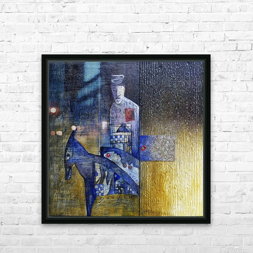 blue horserider 2 HD Sublimation Metal print with Decorating Float Frame (BOX)