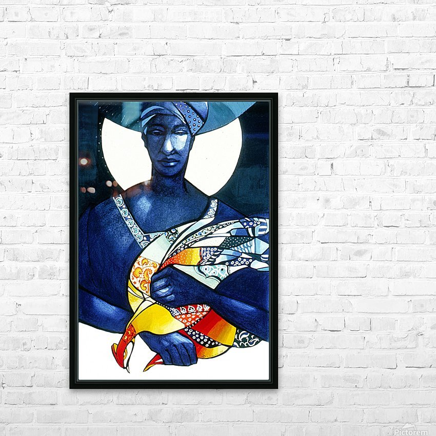 Blue Woman with a bird HD Sublimation Metal print with Decorating Float Frame (BOX)