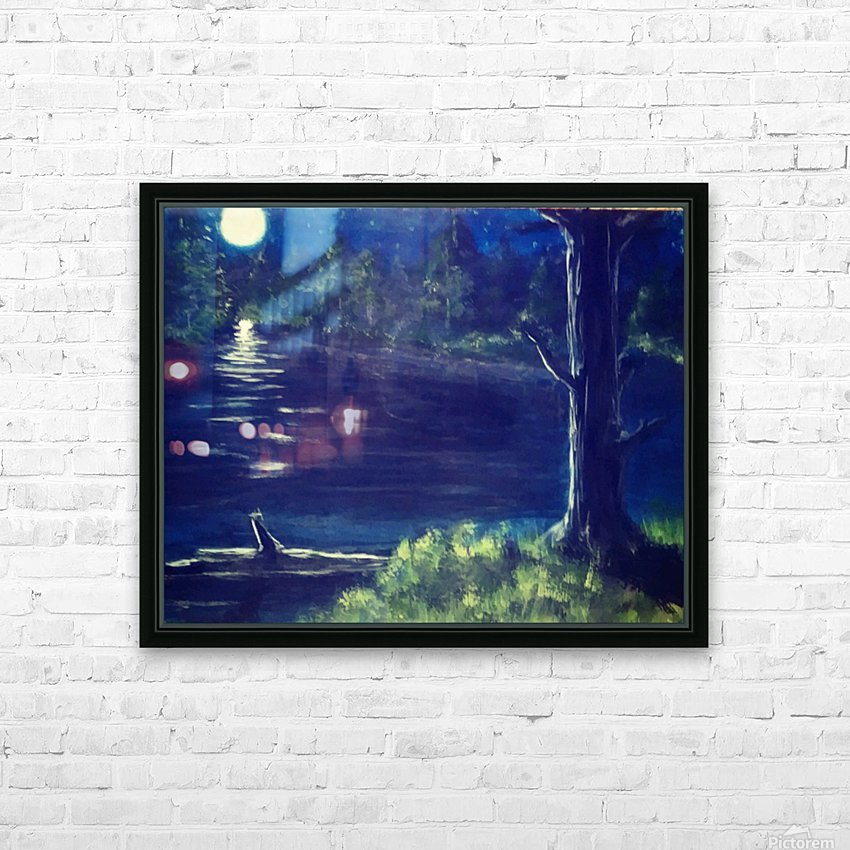 Peaceful Moonlit night HD Sublimation Metal print with Decorating Float Frame (BOX)