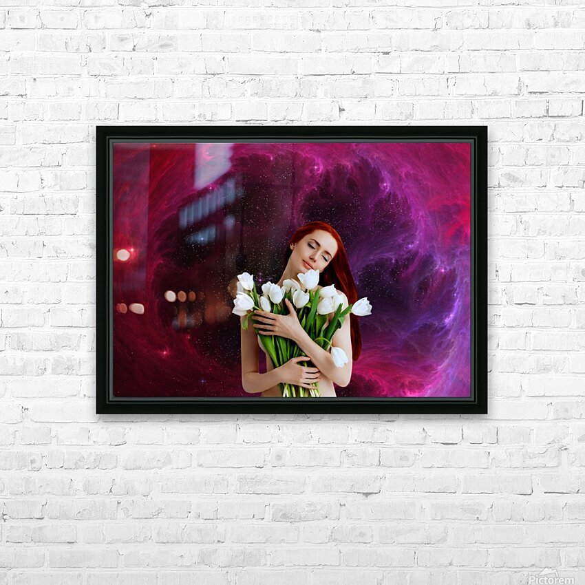 Girl with tulips. Madonna 3 HD Sublimation Metal print with Decorating Float Frame (BOX)