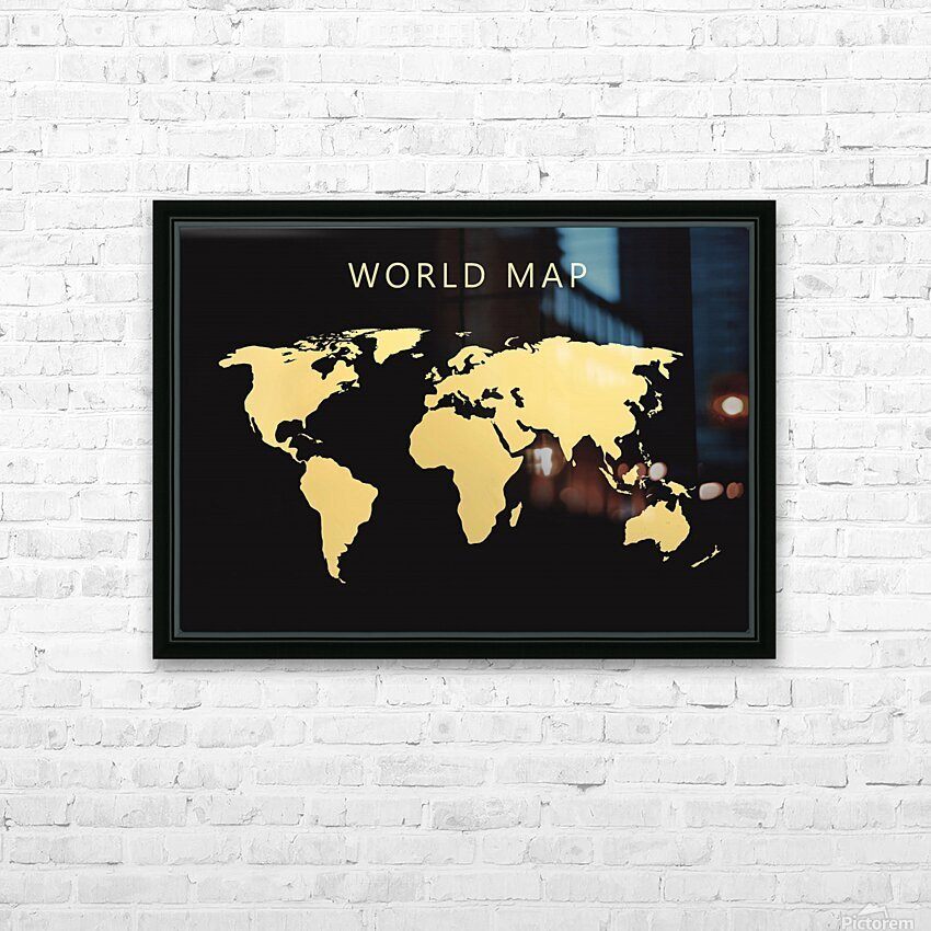 map world 2 HD Sublimation Metal print with Decorating Float Frame (BOX)