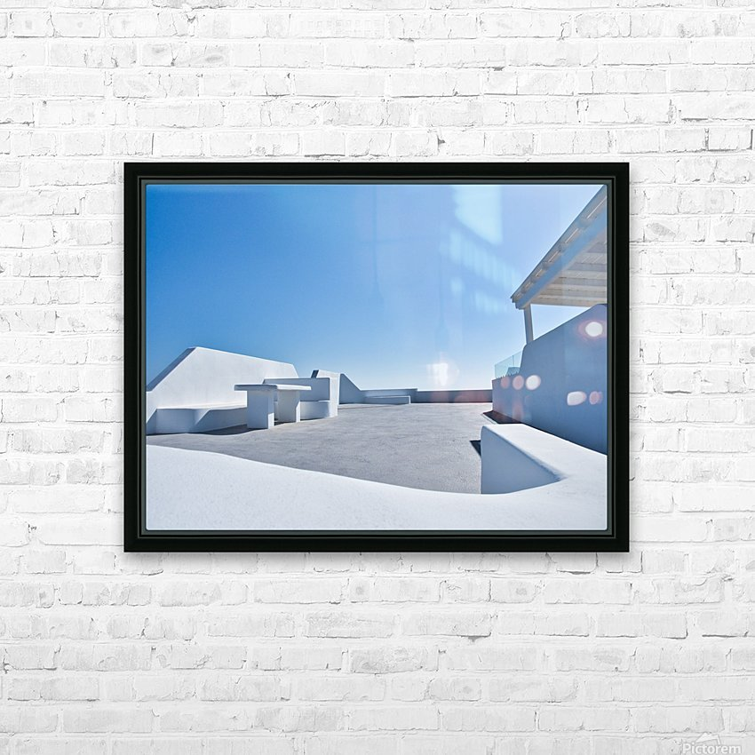 Cyclades White Architecture Design HD Sublimation Metal print with Decorating Float Frame (BOX)
