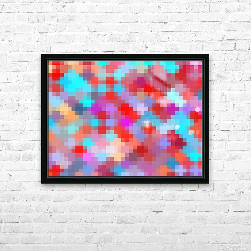 geometric square pixel pattern abstract in pink red blue HD Sublimation Metal print with Decorating Float Frame (BOX)