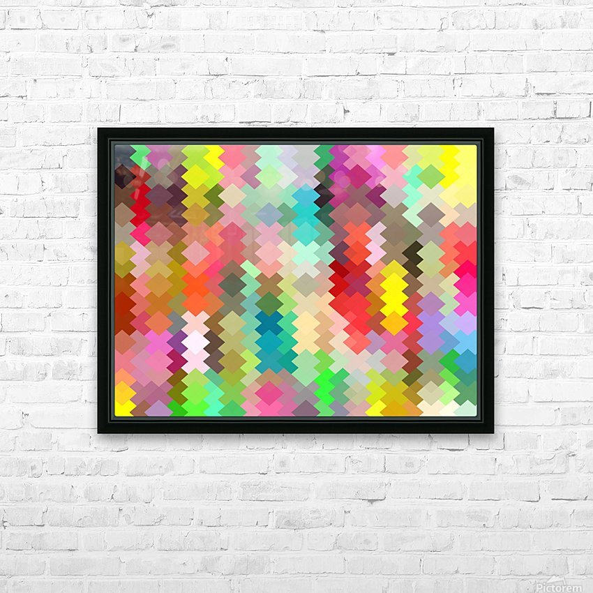 geometric square pixel pattern abstract in red blue green yellow HD Sublimation Metal print with Decorating Float Frame (BOX)