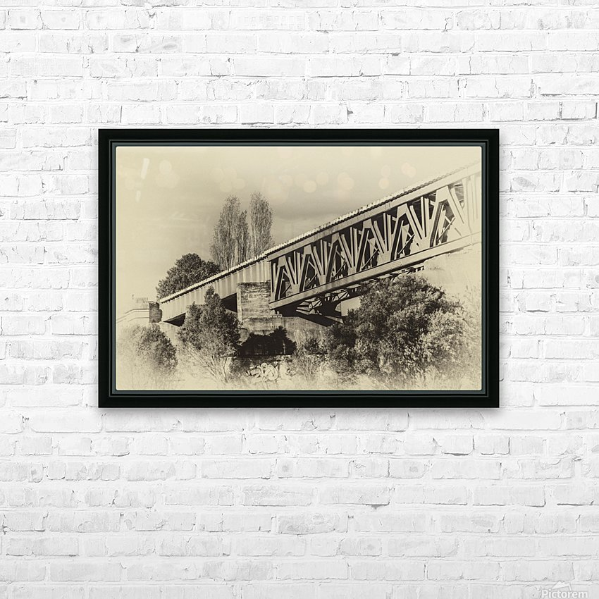 Railway Bridge in B&W HD Sublimation Metal print with Decorating Float Frame (BOX)