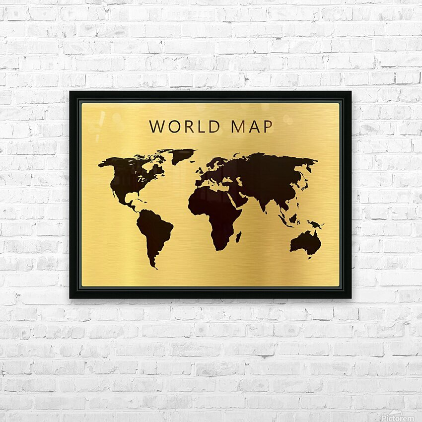 map world 4 HD Sublimation Metal print with Decorating Float Frame (BOX)