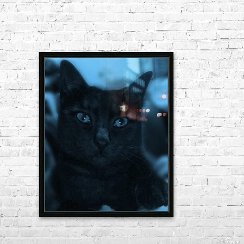 black cat in blue HD Sublimation Metal print with Decorating Float Frame (BOX)