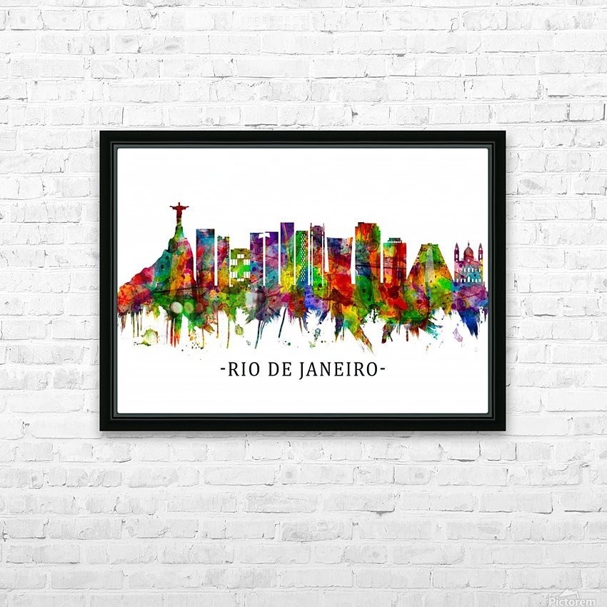 Rio de Janeiro Brazil Skyline HD Sublimation Metal print with Decorating Float Frame (BOX)