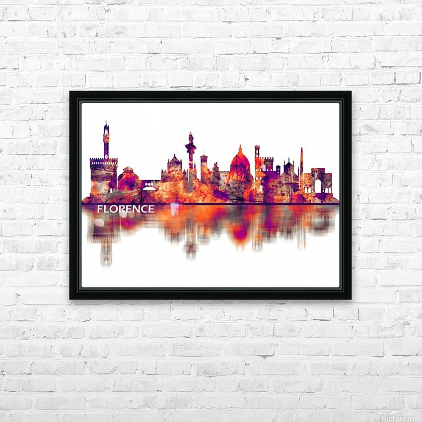 Florence Italy Skyline HD Sublimation Metal print with Decorating Float Frame (BOX)