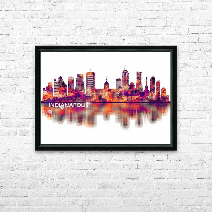 Indianapolis Indiana Skyline HD Sublimation Metal print with Decorating Float Frame (BOX)