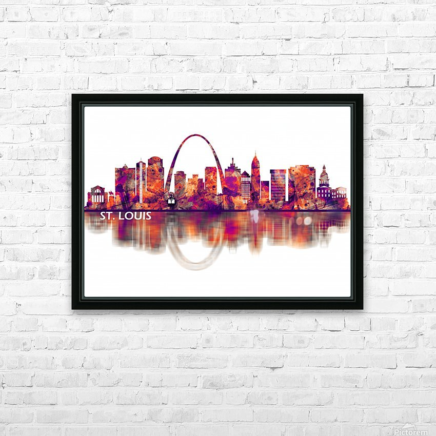 St. Louis Missouri Skyline HD Sublimation Metal print with Decorating Float Frame (BOX)