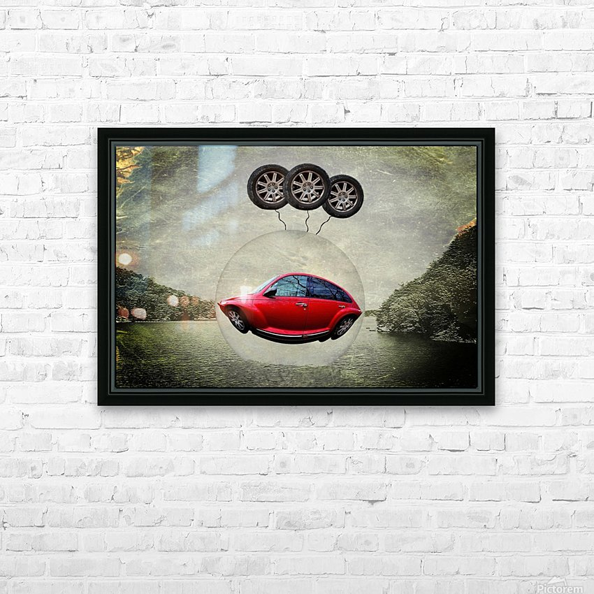 a flying car HD Sublimation Metal print with Decorating Float Frame (BOX)