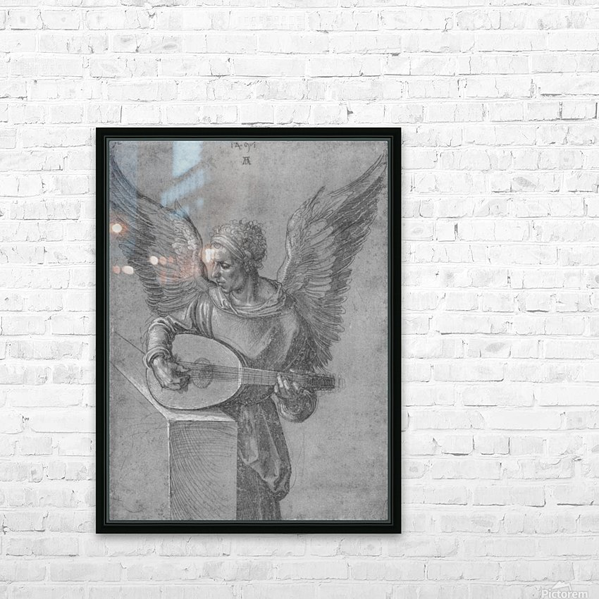 Winged Man In Idealistic Clothing, playing a Lute HD Sublimation Metal print with Decorating Float Frame (BOX)