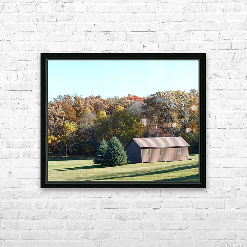 Pole Barn in Fall HD Sublimation Metal print with Decorating Float Frame (BOX)
