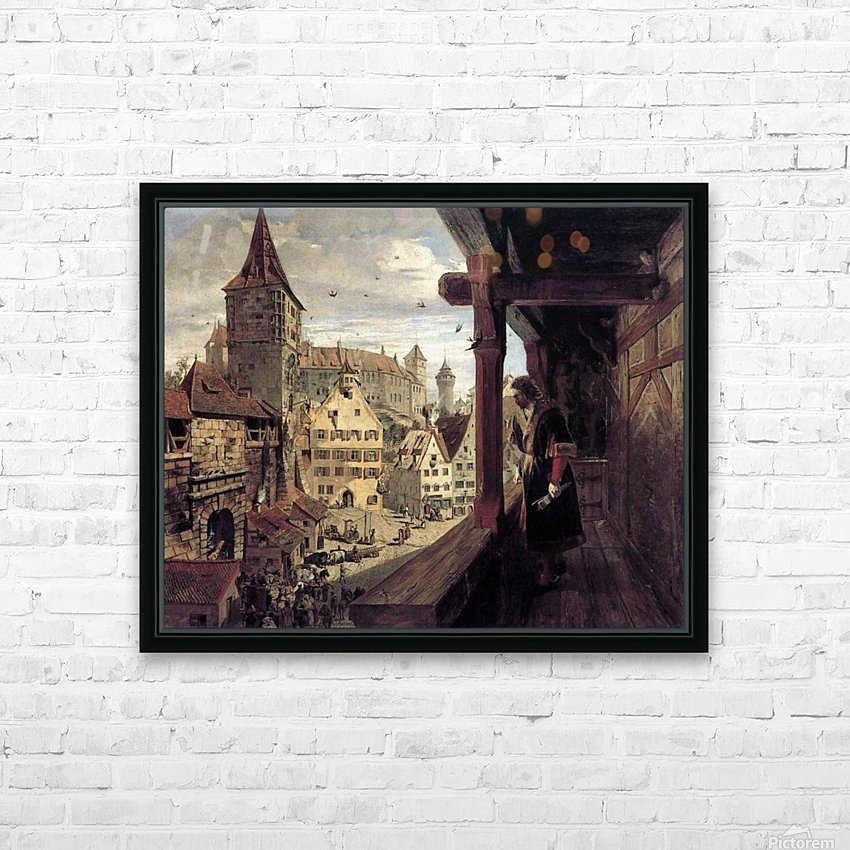 Albrecht Dürer on the Balcony of his House HD Sublimation Metal print with Decorating Float Frame (BOX)