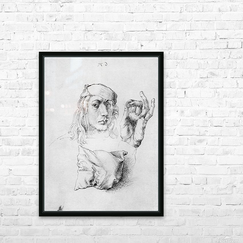 Study sheet with self-portrait, hand, and cushions HD Sublimation Metal print with Decorating Float Frame (BOX)