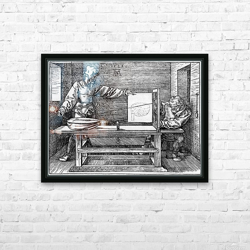 Man drawing a Lute HD Sublimation Metal print with Decorating Float Frame (BOX)