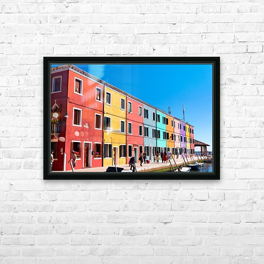 Colorful Venice Houses HD Sublimation Metal print with Decorating Float Frame (BOX)