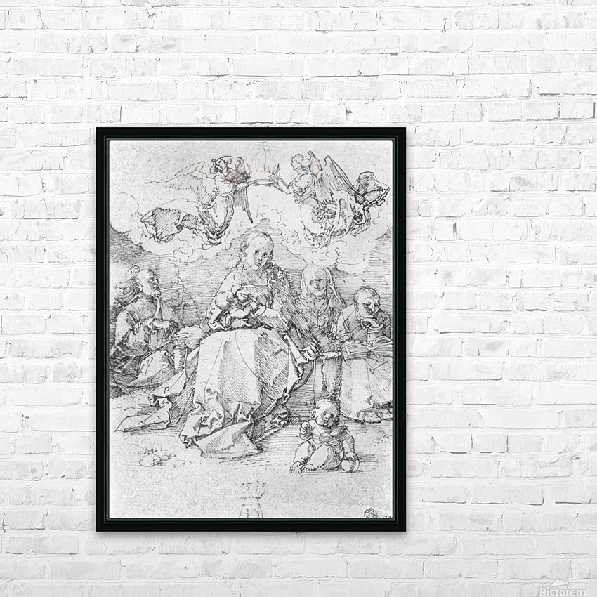 Holy Family crowned by two angels HD Sublimation Metal print with Decorating Float Frame (BOX)