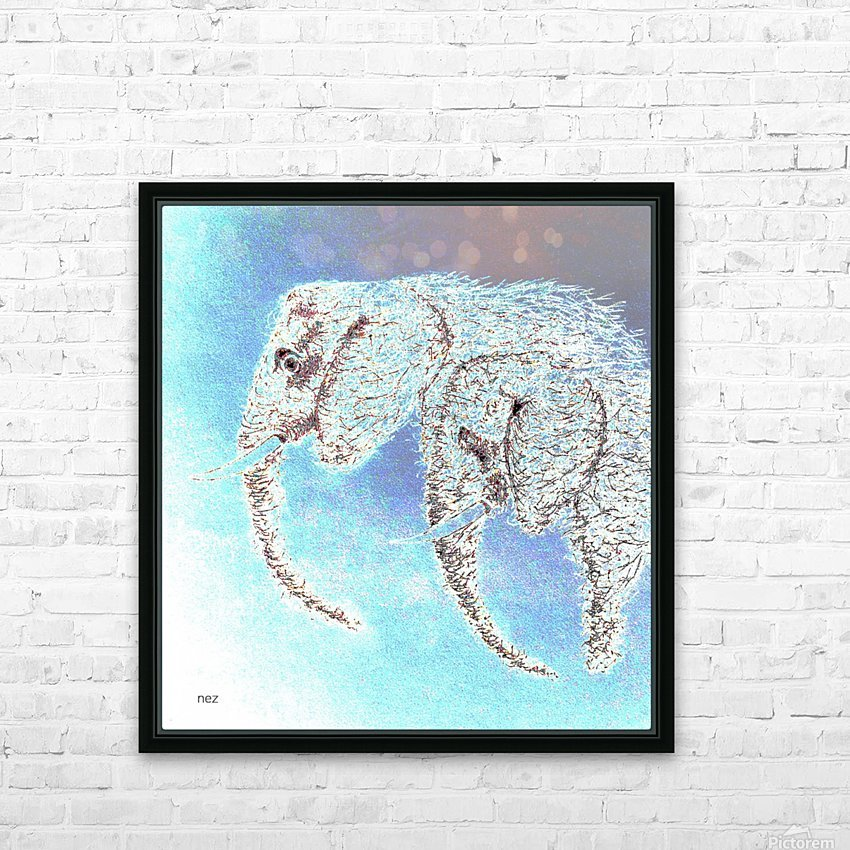 2 Elephants HD Sublimation Metal print with Decorating Float Frame (BOX)