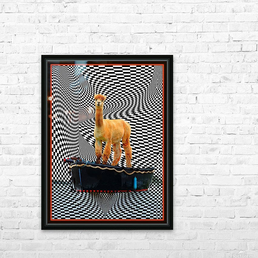 alpaca on a boat ride HD Sublimation Metal print with Decorating Float Frame (BOX)