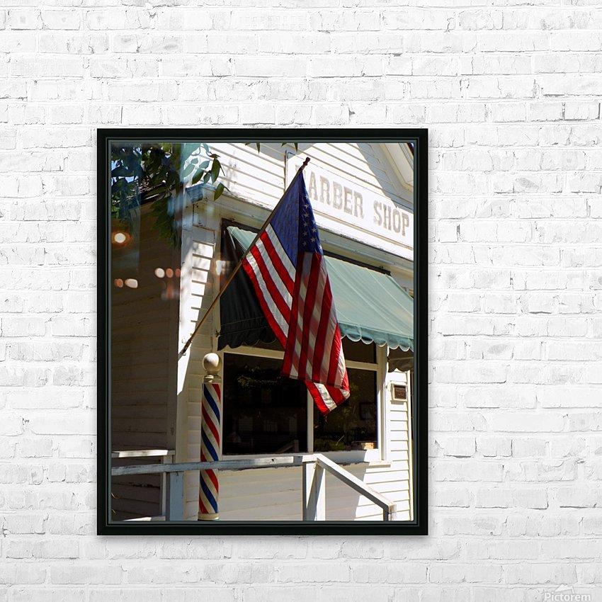 Patriotic Barber Shop HD Sublimation Metal print with Decorating Float Frame (BOX)