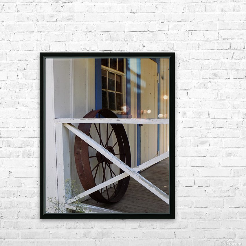 Wagon Wheel on Porch HD Sublimation Metal print with Decorating Float Frame (BOX)