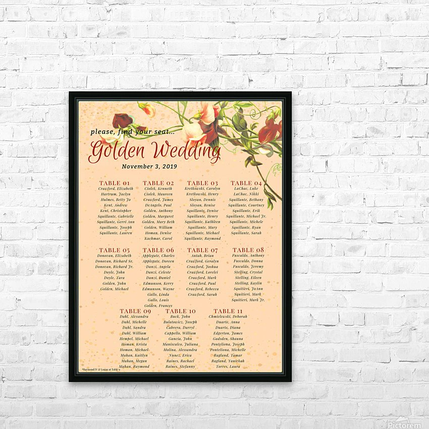 Maroon Floral Vintage Spring Formal Seating Chart HD Sublimation Metal print with Decorating Float Frame (BOX)