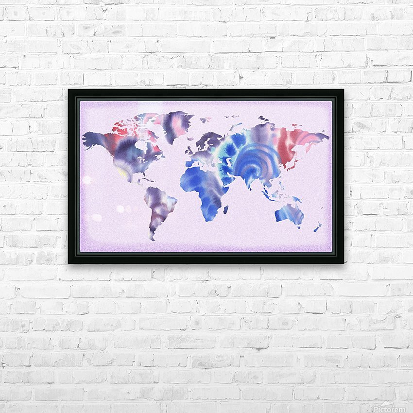 Watercolor Silhouette World Map Lilac Blue And Purple HD Sublimation Metal print with Decorating Float Frame (BOX)