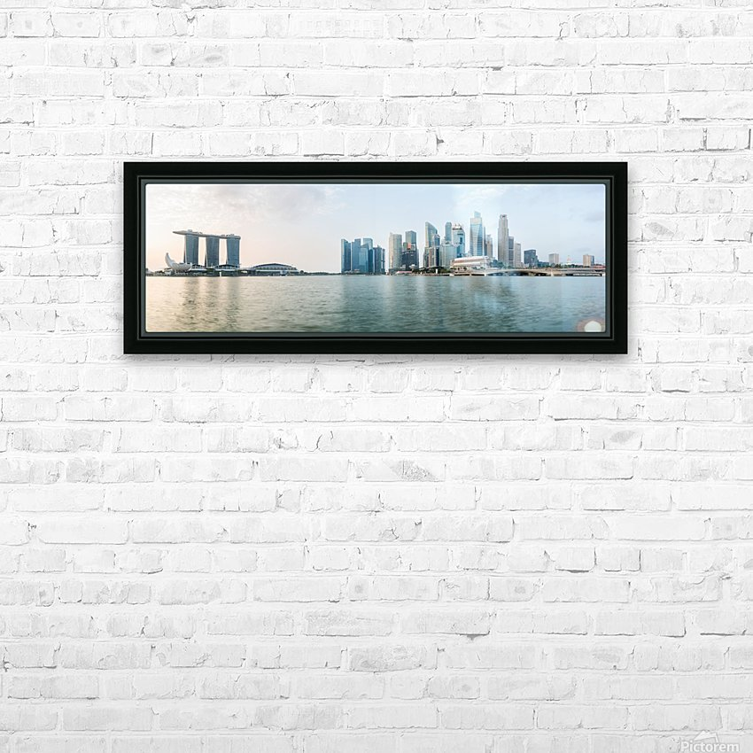 Panorama of Singapore skyline at sunrise HD Sublimation Metal print with Decorating Float Frame (BOX)