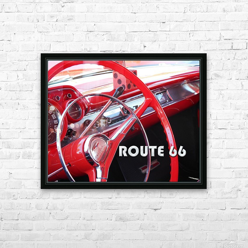 1957 Bel Air Interior - Route 66 Chrome HD Sublimation Metal print with Decorating Float Frame (BOX)