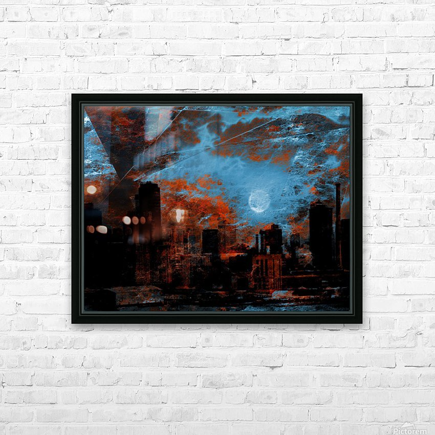 NYC Waterfront Abstraction HD Sublimation Metal print with Decorating Float Frame (BOX)
