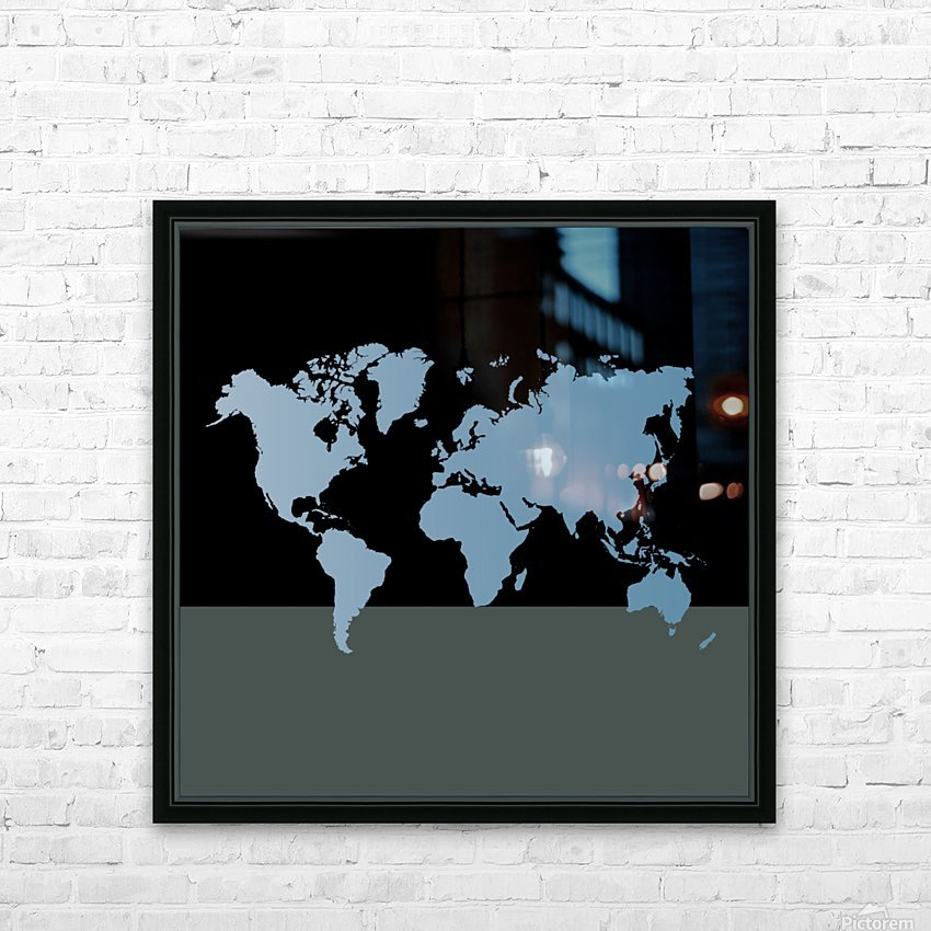 GREY WORLD MAP HD Sublimation Metal print with Decorating Float Frame (BOX)