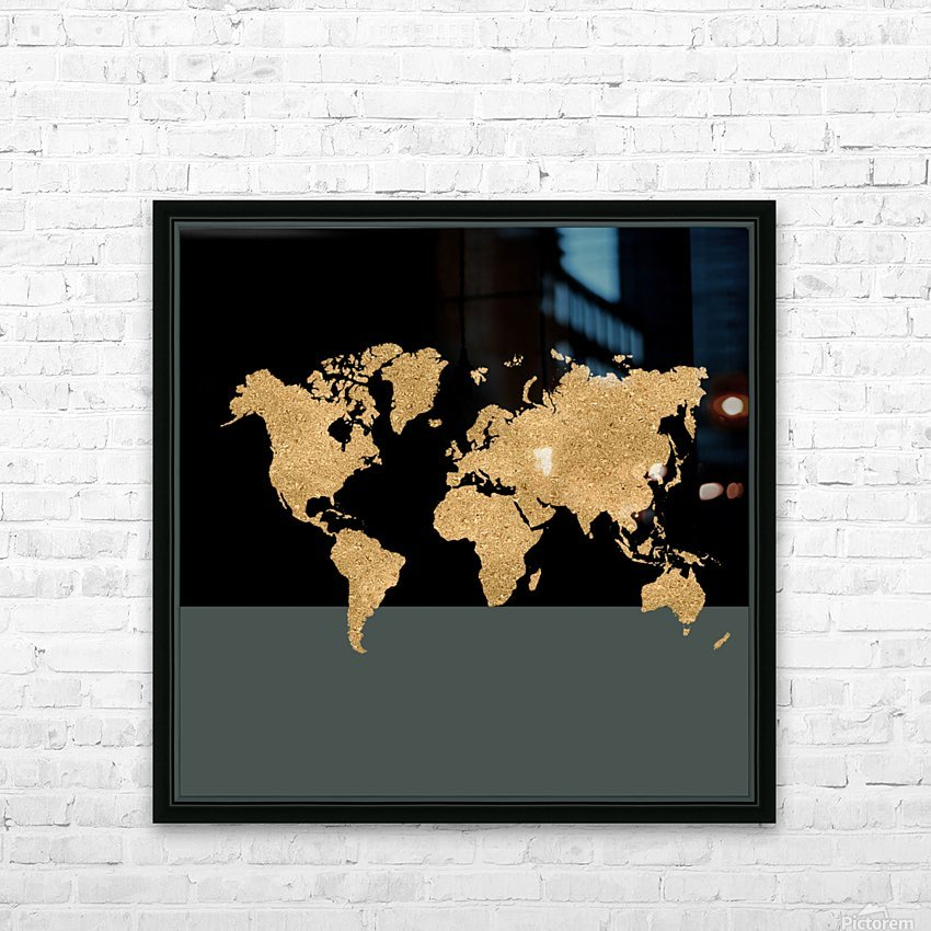 GOLD GLITTER WORLD MAP HD Sublimation Metal print with Decorating Float Frame (BOX)