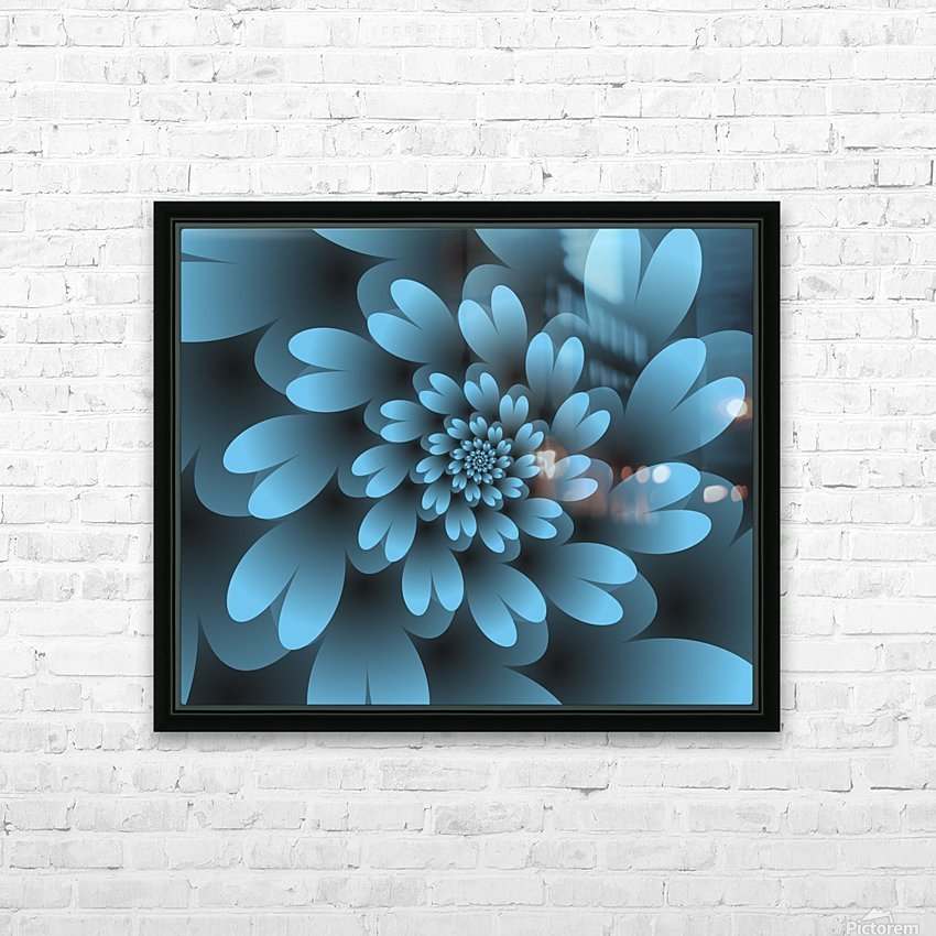 Blue Floral Satin Wallpaper HD Sublimation Metal print with Decorating Float Frame (BOX)