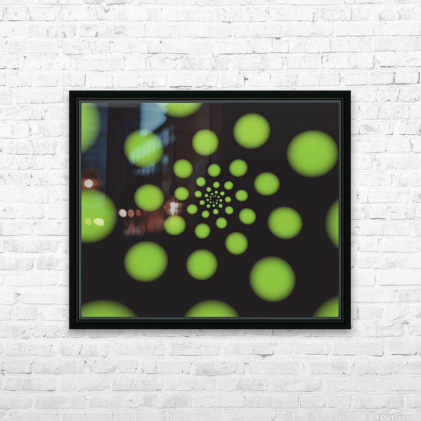 Green Spiral Dots HD Sublimation Metal print with Decorating Float Frame (BOX)