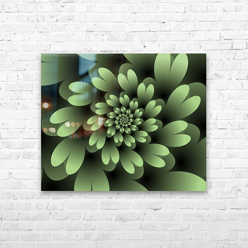 Green Floral Satin Wallpaper HD Sublimation Metal print with Decorating Float Frame (BOX)