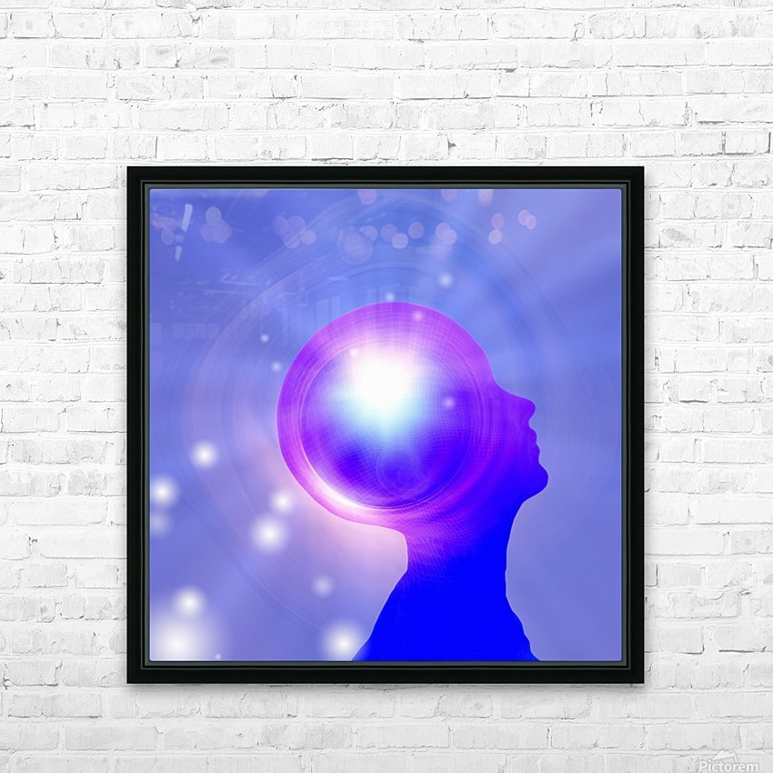 Human Head with Light HD Sublimation Metal print with Decorating Float Frame (BOX)