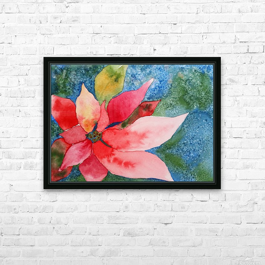 Poinsettia HD Sublimation Metal print with Decorating Float Frame (BOX)