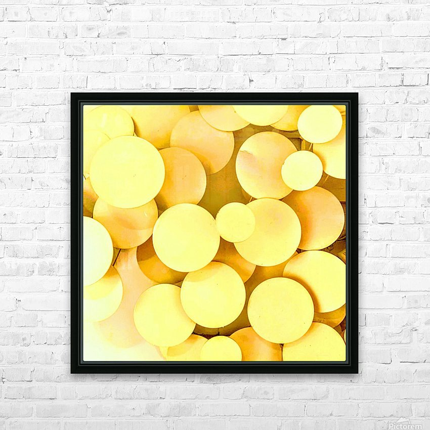 yellow circles HD Sublimation Metal print with Decorating Float Frame (BOX)