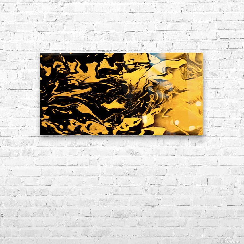 Richer fusion - gold and black gradient abstract wall art HD Sublimation Metal print with Decorating Float Frame (BOX)