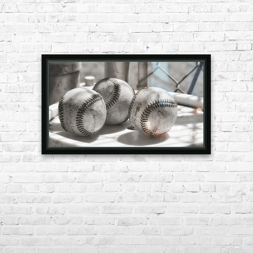 3 Baseballs on a Bucket in Sepia HD Sublimation Metal print with Decorating Float Frame (BOX)