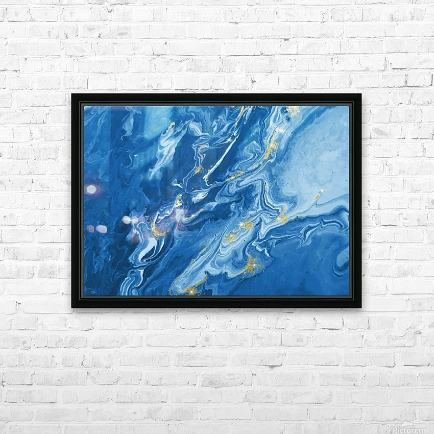 Blue Marble Print HD Sublimation Metal print with Decorating Float Frame (BOX)