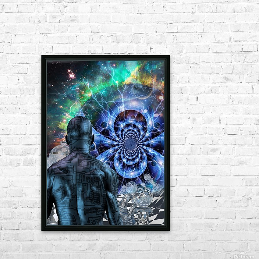 Cyborg in Surreal Space HD Sublimation Metal print with Decorating Float Frame (BOX)