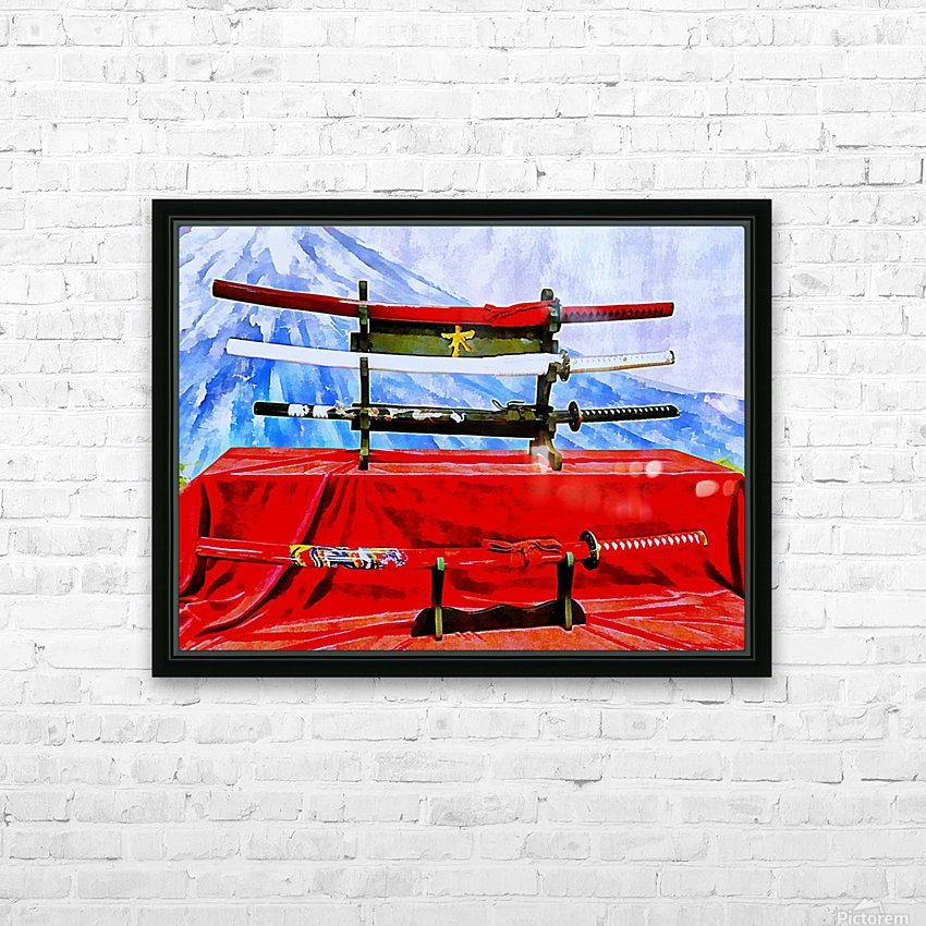 Japanese Sword Display HD Sublimation Metal print with Decorating Float Frame (BOX)